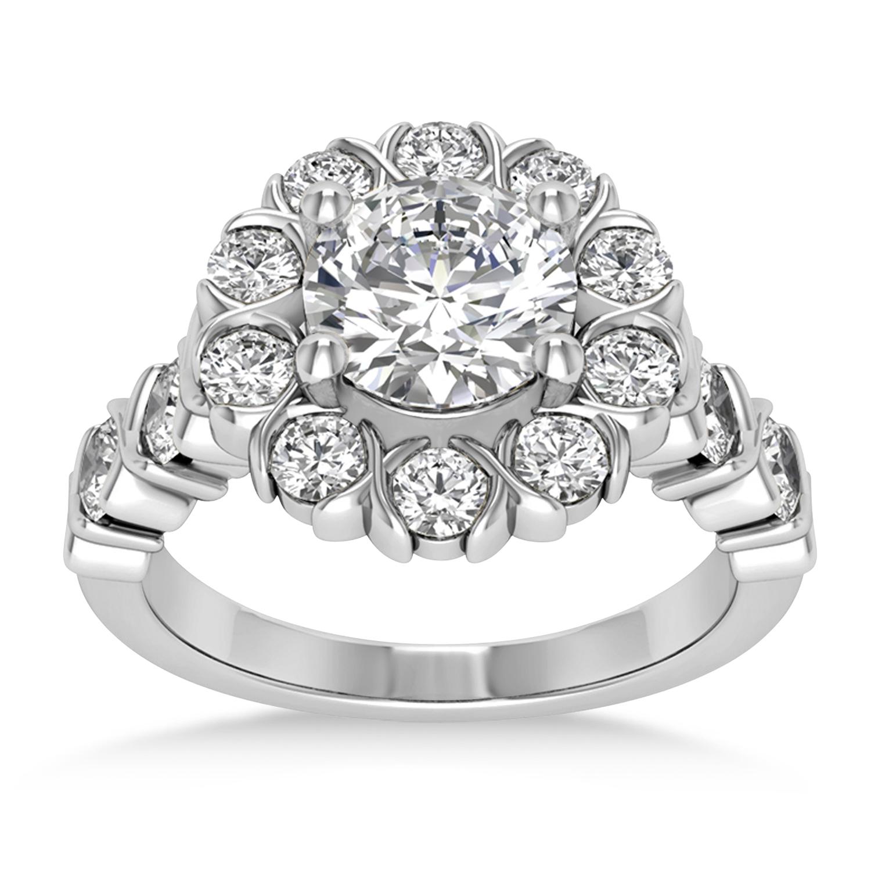 Diamond Petal Styled Engagement Ring Palladium (1.00ct)