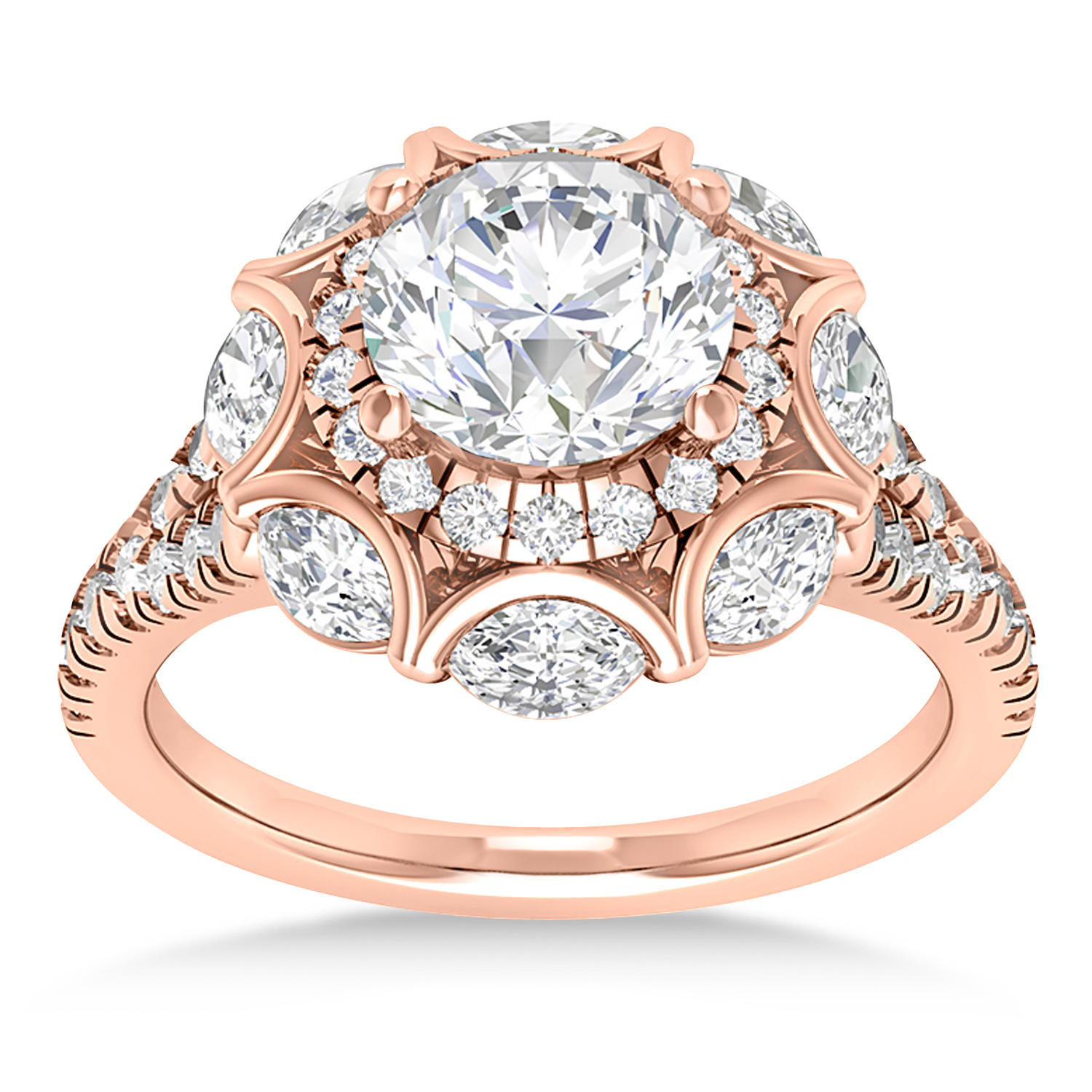 Diamond Accented Halo Engagement Ring 14k Rose Gold (0.92ct)