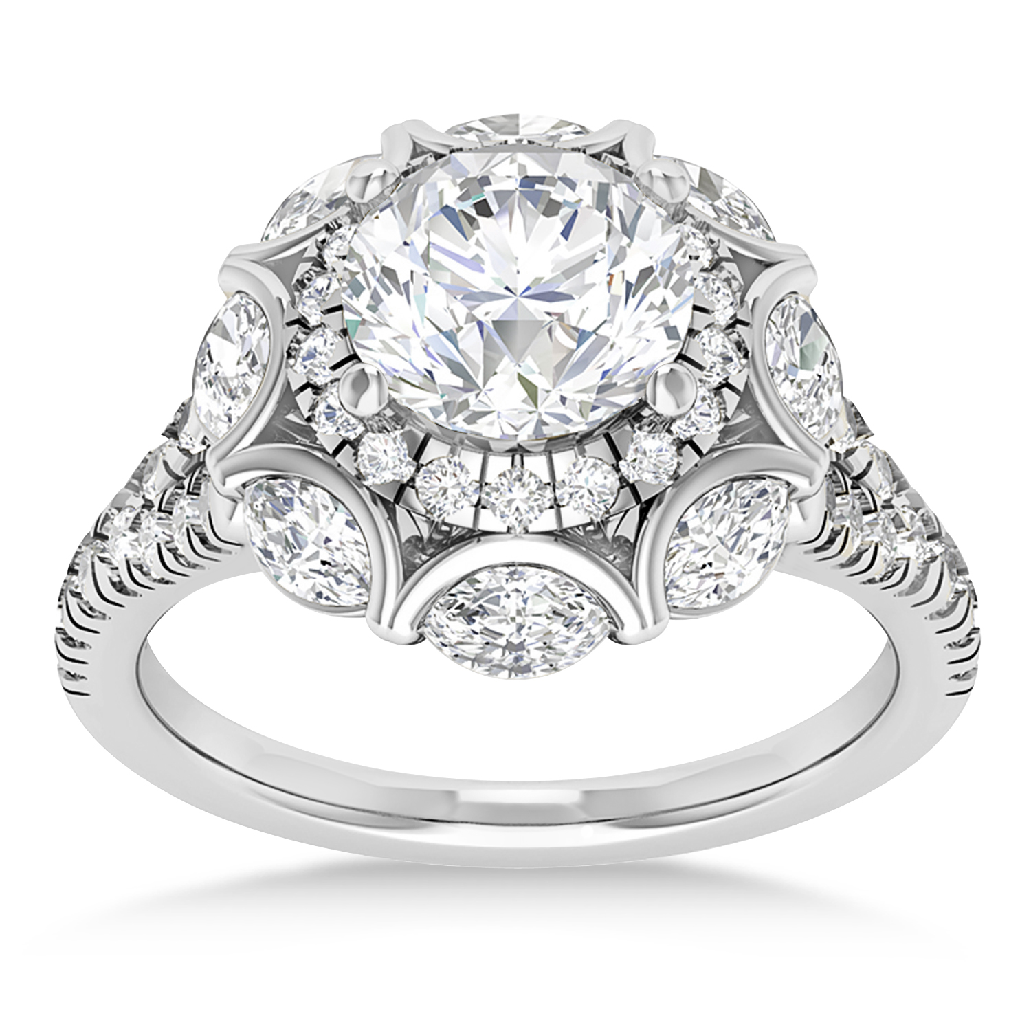 Diamond Accented Halo Engagement Ring 14k White Gold (0.92ct)