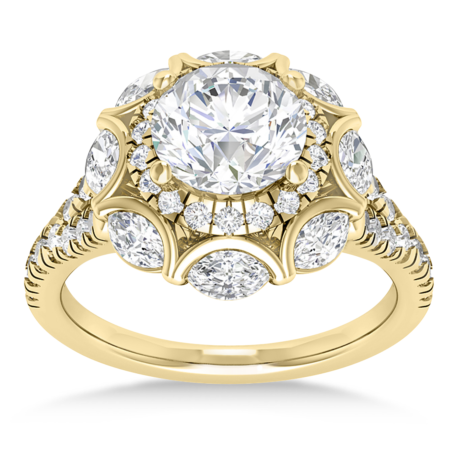 Diamond Accented Halo Engagement Ring 14k Yellow Gold (0.92ct)