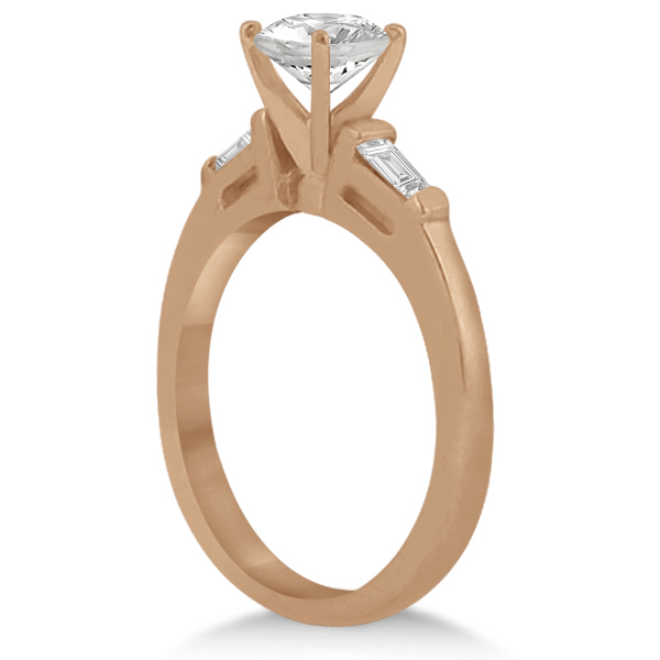 Three Stone Baguette Diamond Engagement Ring 14K Rose Gold (0.20ct)