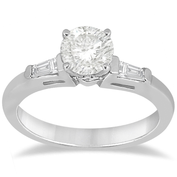 Three Stone Baguette Diamond Engagement Ring 14K White Gold (0.20ct)