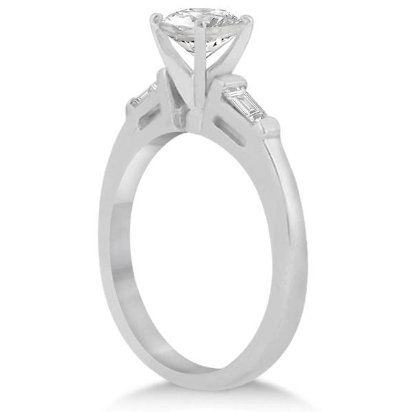 Three Stone Baguette Diamond Engagement Ring Palladium (0.20ct)