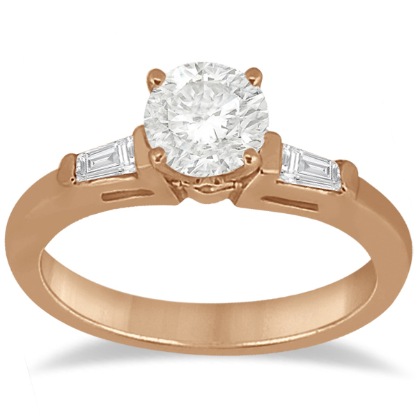 Diamond Baguette Engagement Ring & Wedding Band Set 18K Rose Gold (0.60ct)
