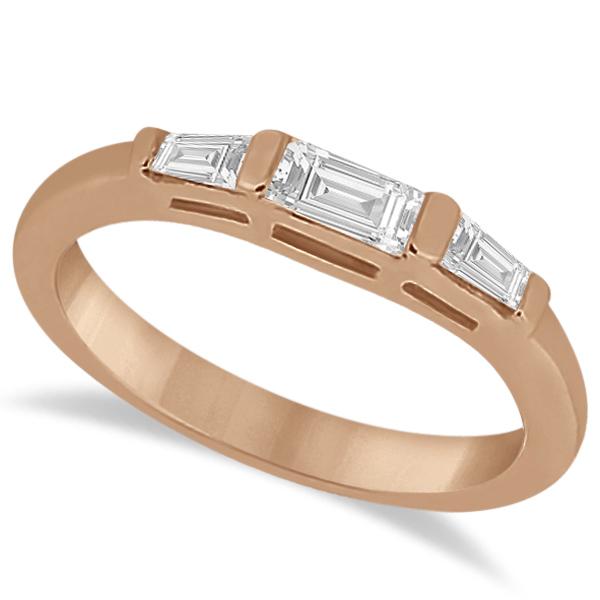 Three Stone Baguette Diamond Wedding Ring in 14K Rose Gold (0.40ct)