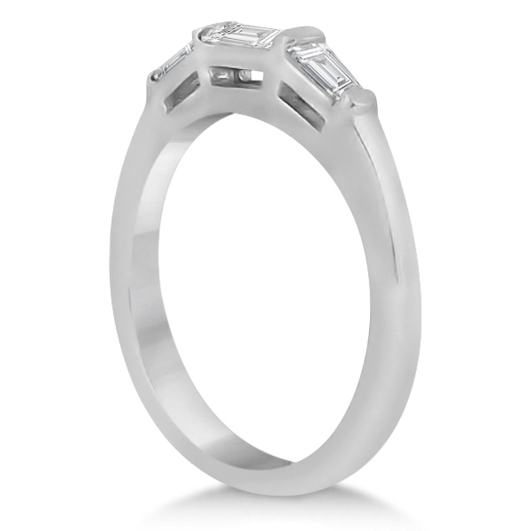 Three Stone Baguette Diamond Wedding Ring in 14K White Gold (0.40ct)