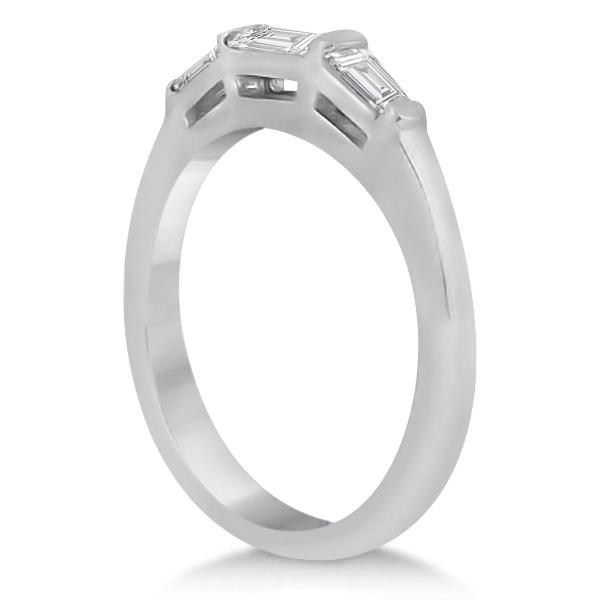 Three Stone Baguette Diamond Wedding Ring in 18K White Gold (0.40ct)