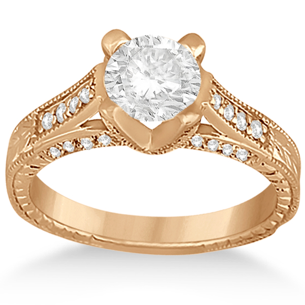 Antique Style Diamond Engagement Ring Setting 14k Rose Gold (0.40ct)