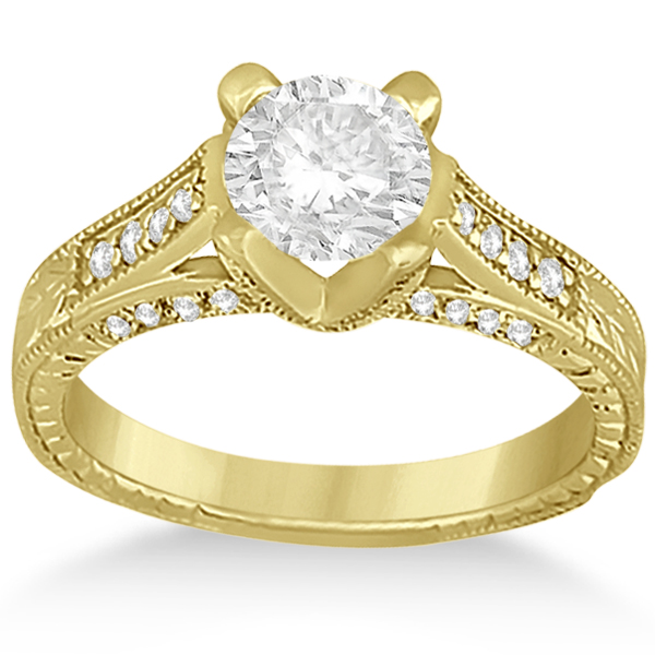 Antique Style Diamond Engagement Ring Setting 14k Yellow Gold (0.40ct)