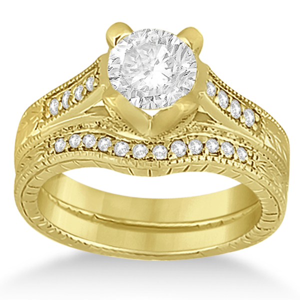 Antique Style Engagement Ring And Matching Wedding Band 14k Yellow Gold
