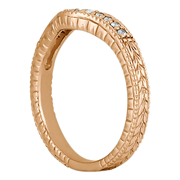 Antique Style Pave-Set Diamond Wedding Band 14k Rose Gold (0.12 ctw)