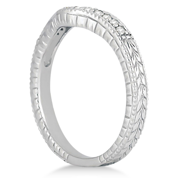 Antique Style Pave-Set Diamond Wedding Band 14k White Gold (0.12 ctw)
