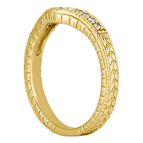 Antique Style Pave-Set Diamond Wedding Band 14k Yellow Gold (0.12ctw)