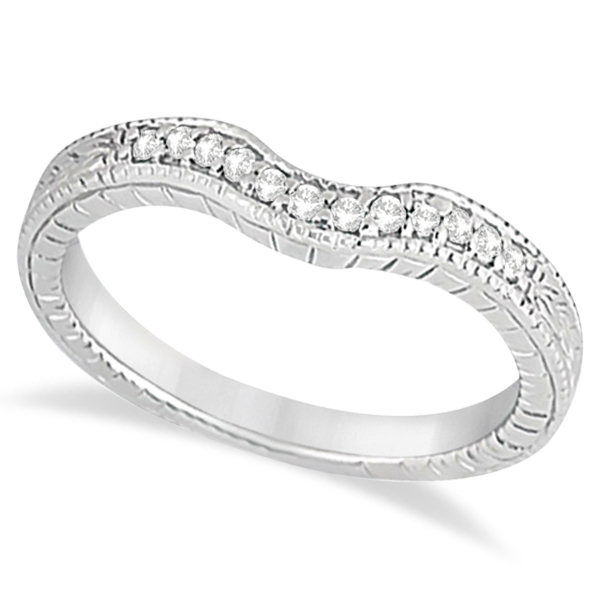 Antique Style Pave-Set Diamond Wedding Band 18k White Gold (0.12 ctw)