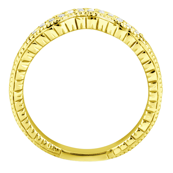 Antique Style Pave-Set Diamond Wedding Band 18k Yellow Gold (0.12 ctw)