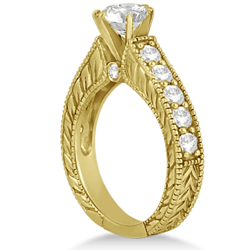 Vintage Diamond Accented Engagement Ring in 14k Yellow Gold (2.05ct)