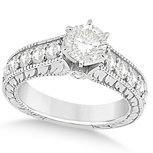 Vintage Diamond Accented Engagement Ring in Platinum (2.05ct)