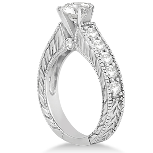 Vintage Diamond Accented Engagement Ring in Platinum (2.05ct)