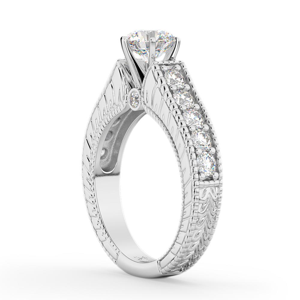 Vintage Diamond Engagement Ring Setting 14k White Gold (1.05ct)
