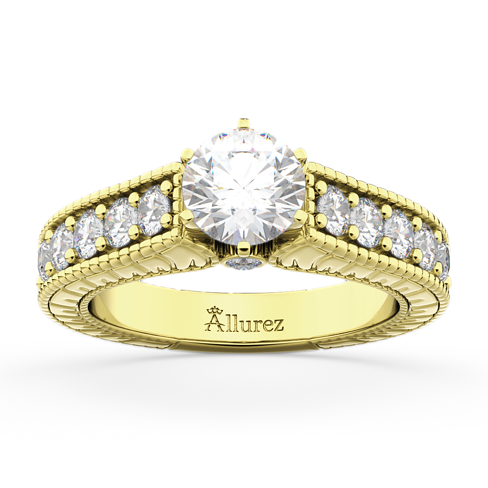 Vintage Diamond Engagement Ring Setting 18k Yellow Gold (1.05ct)