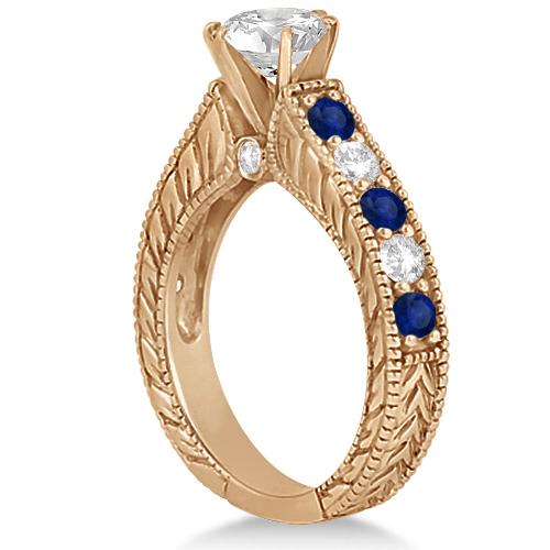 Vintage Diamond Blue Sapphire Engagement Ring 18k Rose Gold (2.41ct)