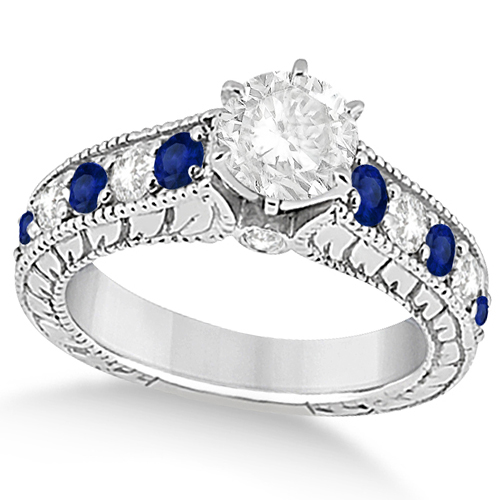 Vintage Diamond Blue Sapphire Engagement Ring 18k White Gold (2.41ct)