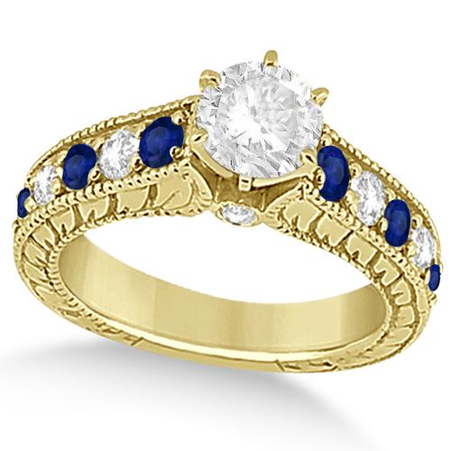 Vintage Diamond Blue Sapphire Engagement Ring 18k Yellow Gold (2.41ct)