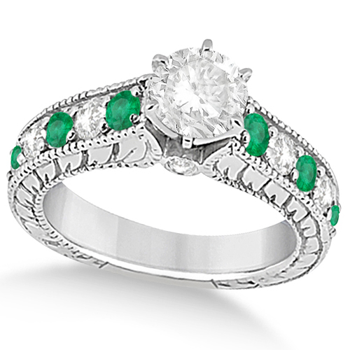 Vintage Diamond and Emerald Engagement Ring 14k White Gold (2.23ct)