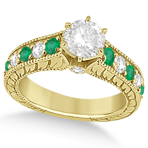 Vintage Diamond and Emerald Engagement Ring 14k Yellow Gold (2.23ct)