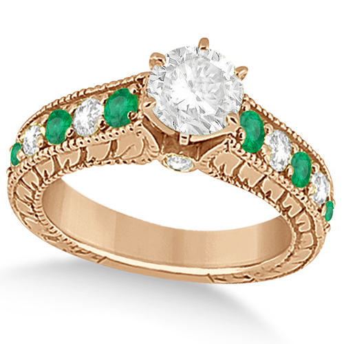 Vintage Diamond and Emerald Engagement Ring 18k Rose Gold (2.23ct)