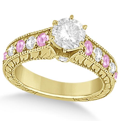 Vintage Diamond Pink Sapphire Engagement Ring 14k Yellow Gold (2.41ct)