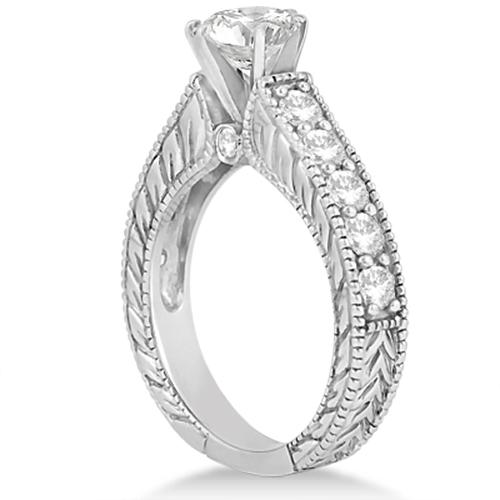 Antique Diamond Wedding & Engagement Ring Set 14k White Gold (3.15ct)