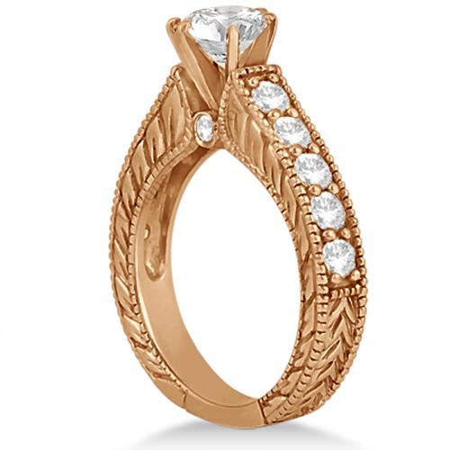 Antique Diamond Wedding & Engagement Ring Set 18k Rose Gold (3.15ct)