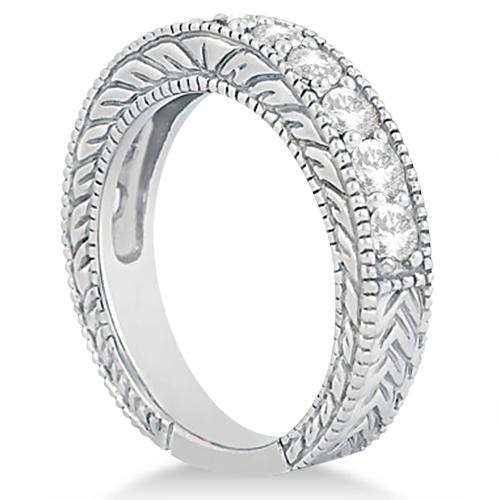 Antique Diamond Wedding & Engagement Ring Set Palladium (3.15ct)