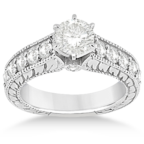 Antique Diamond Wedding & Engagement Ring Set 18k White Gold (2.15ct)