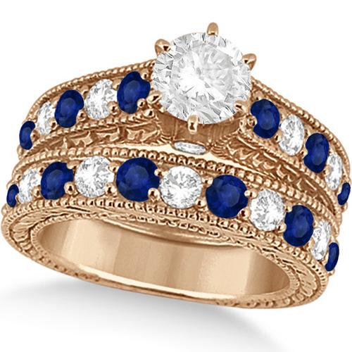 Antique Diamond & Blue Sapphire Bridal Ring Set 14k Rose Gold (3.87ct)