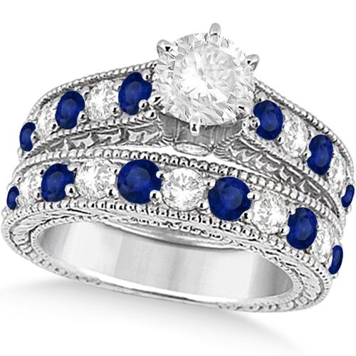 Antique Diamond & Blue Sapphire Bridal Ring Set 14k White Gold (3.87ct)