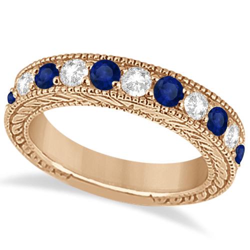 Antique Diamond & Blue Sapphire Bridal Ring Set 18k Rose Gold (3.87ct)