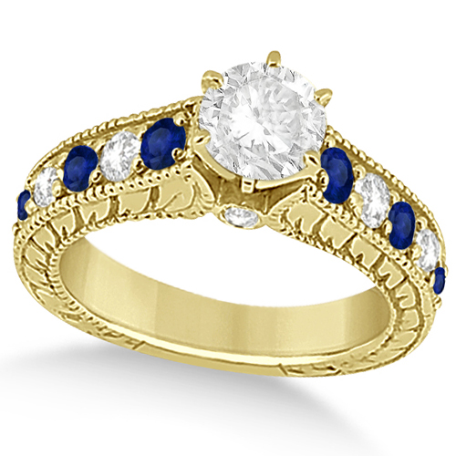 Antique Diamond & Blue Sapphire Bridal Ring Set 18k Yellow Gold (3.87ct)