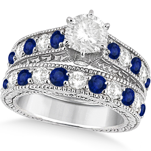 Antique Diamond Blue Sapphire Bridal Ring Set In Palladium