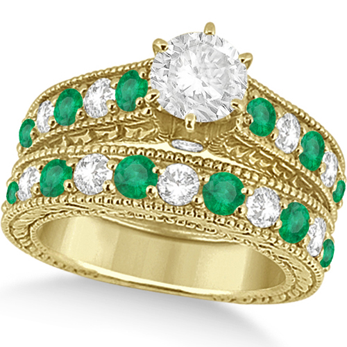 Antique Diamond and Emerald Bridal Ring Set 14k Yellow Gold (3.51ct)