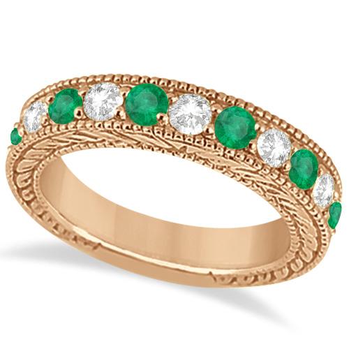 Antique Diamond and Emerald Bridal Ring Set 18k Rose Gold (3.51ct)