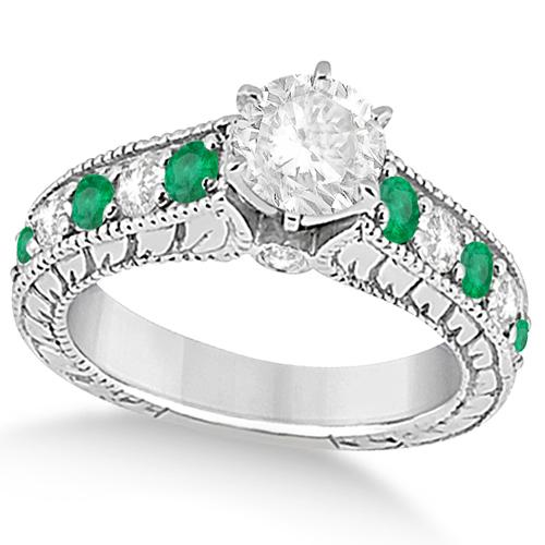 Antique Diamond and Emerald Bridal Ring Set in Palladium (3.51ct)