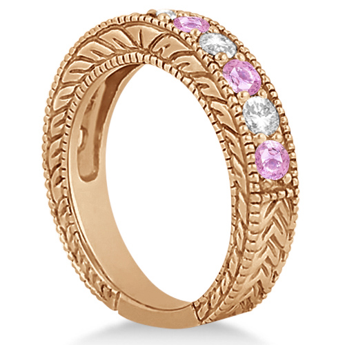 Antique Diamond & Pink Sapphire Bridal Ring Set 14k Rose Gold (3.87ct)