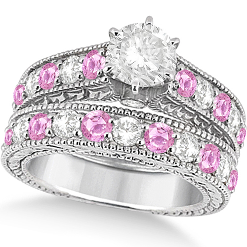 antique diamond pink sapphire bridal ring set 14k white gold - Sapphire Wedding Ring Sets
