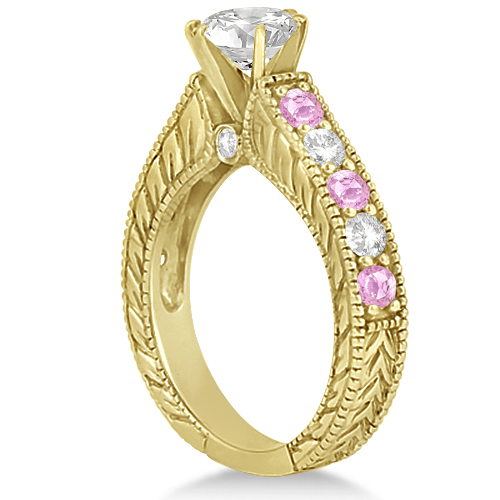 Antique Diamond & Pink Sapphire Bridal Ring Set 14k Yellow Gold (3.87ct)