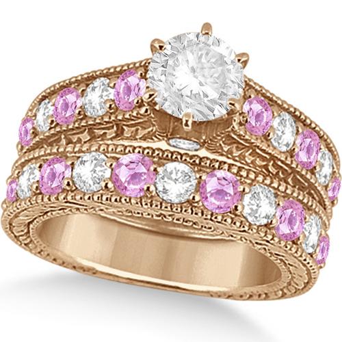 Antique Diamond & Pink Sapphire Bridal Ring Set 18k Rose Gold (3.87ct)