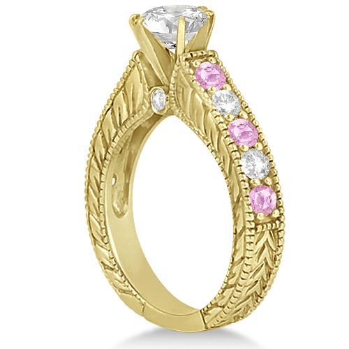 Antique Diamond & Pink Sapphire Bridal Ring Set 18k Yellow Gold (3.87ct)