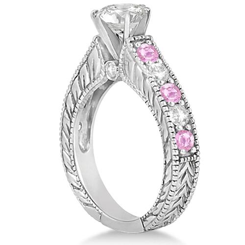 Antique Diamond & Pink Sapphire Bridal Ring Set in Platinum (3.87ct)