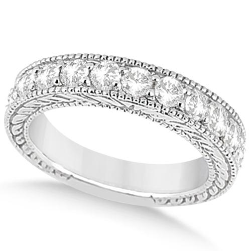 Antique Diamond Engagement Wedding Ring Band 18k White Gold (1.10ct)